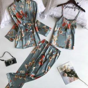 3 Piece Floral Print Sleep Wear Set