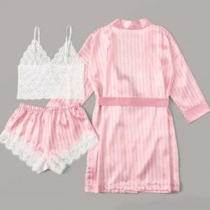 Pink Satin Silk Lace Short Set